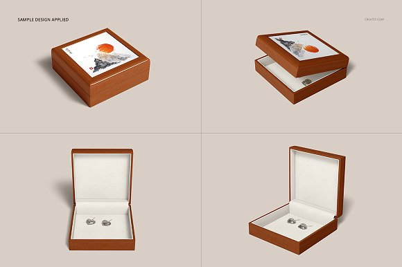 Tiled Wood Jewelry Box Mockup Set in Product Mockups - product preview 12
