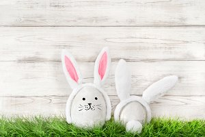 Funny Easter bunnies green grass