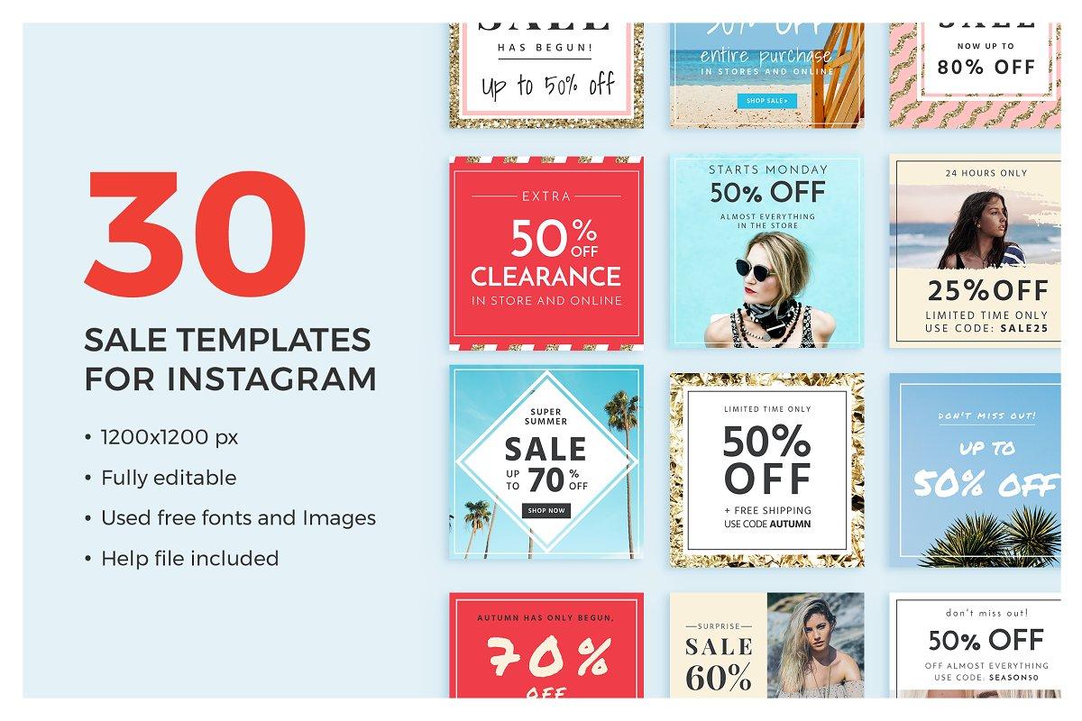 30 Sale Templates For Instagram ~ Instagram Templates ~ Creative Market