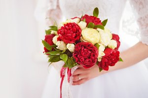 Bridal bouquet From burgundy peonies