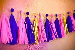 Colored Tassel Garland. Decoration f