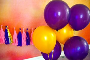 Balloon and garland for party. Decor