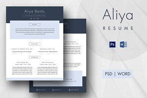 Clean & Simple 2 Page Resume - Aliya