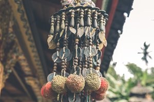 Buddhism hinduism accessory in a balinese temple. Bali island, Indonesia.