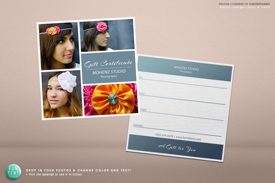 photography gift certificate voucher stationery templates creative market. Black Bedroom Furniture Sets. Home Design Ideas