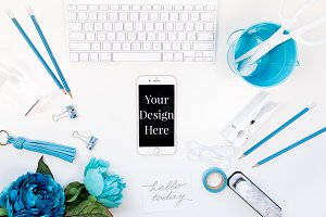Blue iPhone Mockup Flatlay Stock