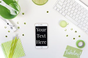 Lime Green Styled Flatlay Mockup