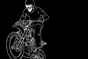 vintage handdraw moto cross