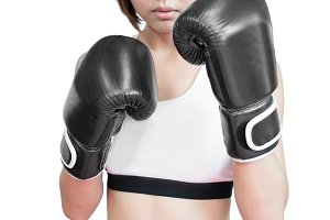 woman in boxing combat stance
