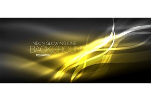 Neon elegant smooth wave lines digital abstract background