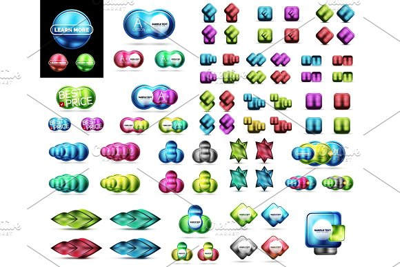 Mega Collection Of Blank Glossy Glass Web Banner Buttons Labels