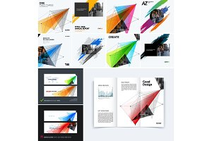 Mega set of templates, polygonal design for website, banner, stand, corporate identity