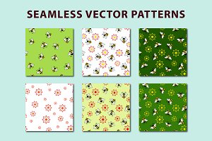 Bee seamless patterns