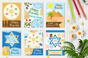 Passover set poster, invitation, flyer, greeting card. Pesach template for your design with festive Seder table, kosher food, matzah, david star. Jewish holiday background. Vector illustration.