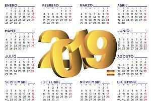 2019 calendar spanish