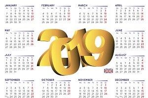2019 calendar english UK