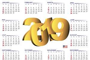 2019 calendar english USA