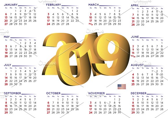 2019 calendar english usa graphics