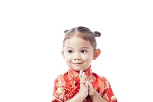 Happy Asian Chinese child receiving