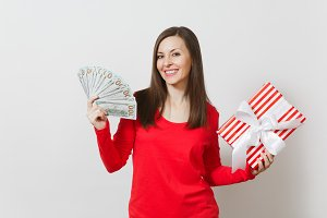 Woman holding bundle cash money doll