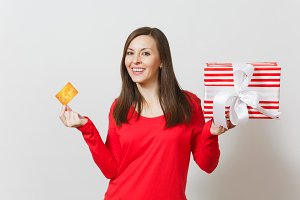 Beautiful woman holding credit card