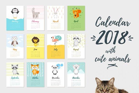 2018 Calendar with cute animals