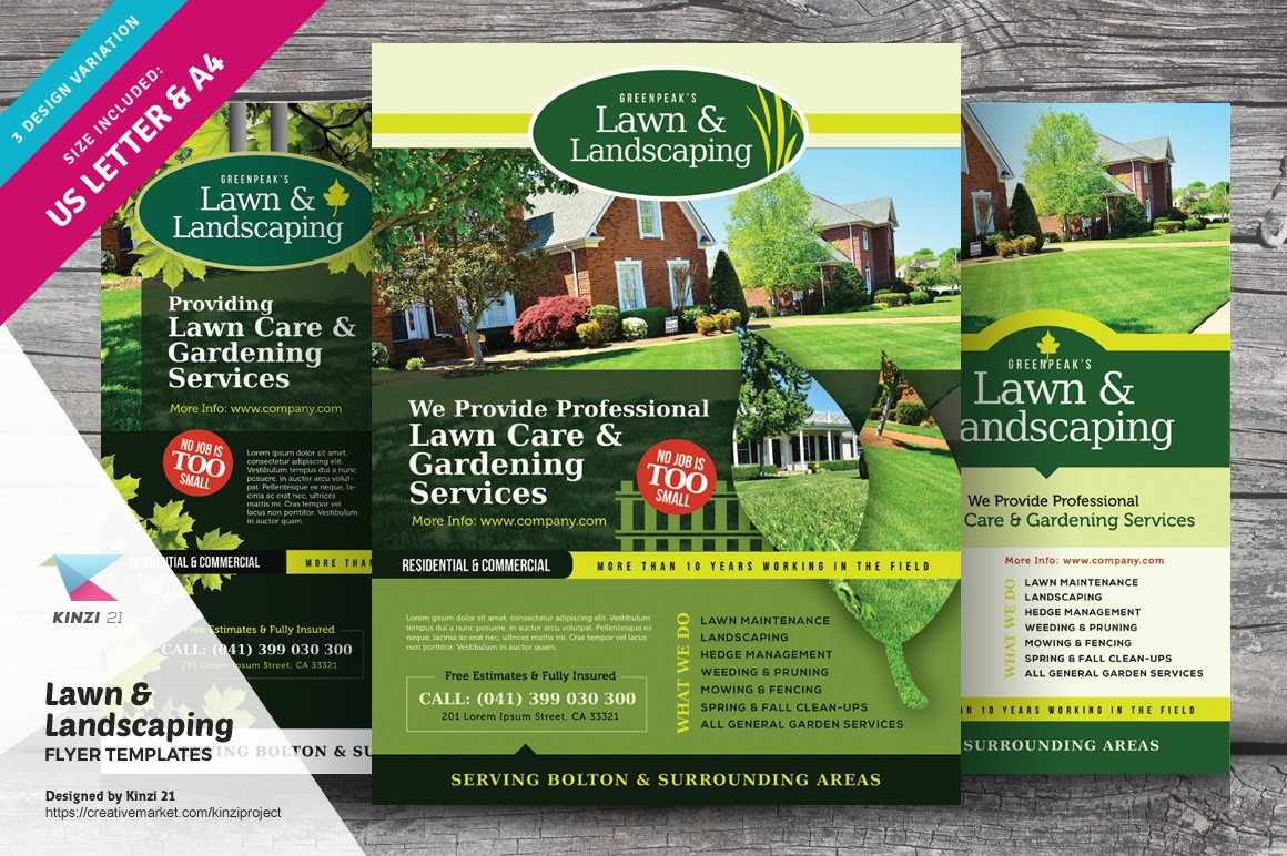 Lawn Landscaping Flyer Templates Flyer Templates Creative Market
