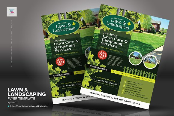 lawn landscaping flyer templates flyer templates creative market