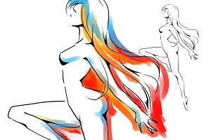 Dancing woman, elegant silhouette