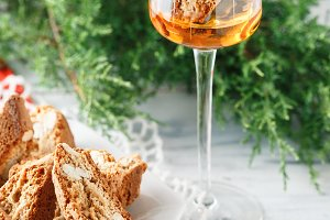 Cantuccini biscuits and Vin Santo