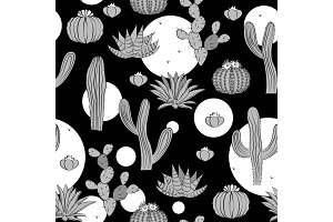 Seamless pattern with cactus. Wild cactus forest with doodle circles. Stylish grey, black, and white palette