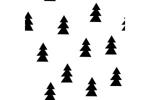 Seamless patterns with black fir-trees. Hand drawn new year background. Seamless graphic pattern. Ink illustration.