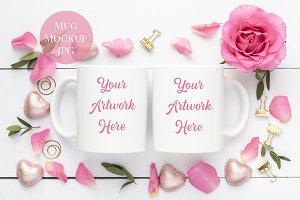 Double Mug Mockup-Pink Roses
