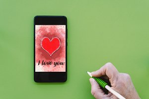 Valentines day sale background on smartphone screen