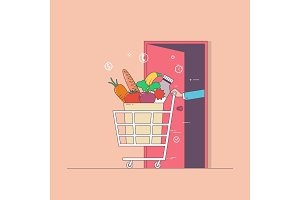 Delivery food.Food in package.Thin line colorful vector illustration