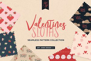 Valentine's Sloth Seamless Patterns