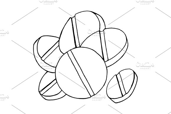 Tablets pills meds sketch art vector