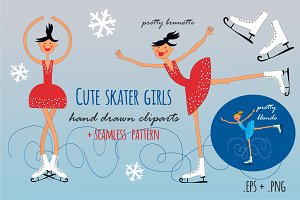 Cute skater girls hand drawn clipart
