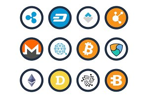 Cryptocurrency Set of Icons Vector Illustration