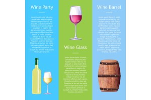 Wine Party Poster with Bottle White Alcohol Drink