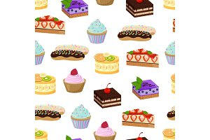 Cakes and Sweet Bakery Pattern Vector Illustration