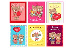Happy Valentines Day Set of Posters, True Love Set