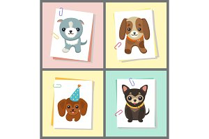 Dogs Stickers Collection, Vector Illustration