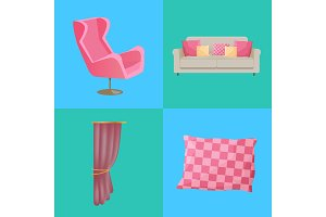 Sofa and Pillows Interior Set Vector Illustration