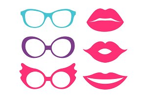 Glasses and Lips Collection Vector Illustration