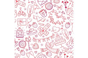 Valentine Day doodles elements pattern. Cute symbols of love,wedding, engagement seamless background. Red pink gradient icons on white hand drawn style vector illustration