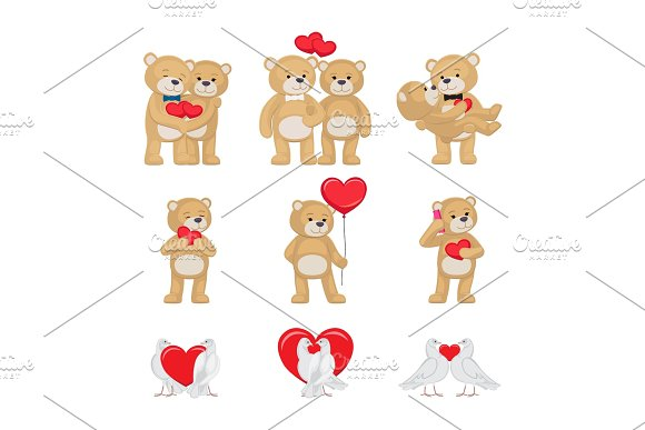 Cute Soft Toy Bears And White Doves In Love Set