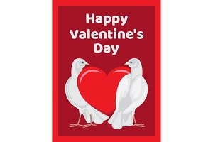 Two Doves Stands Red Heart Symbols of Eternal Love