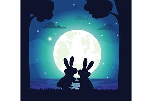 Silhouette of Night Sky and Bunny Vector Illustration