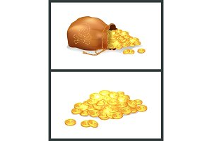 Golden Coins in Pirate Bag Vector Illustration